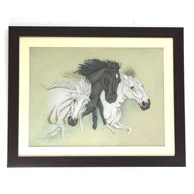 3 Stallion Heads Gemstone Painting w/ Frame