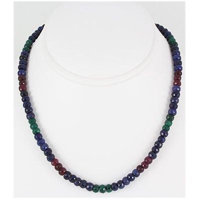 189.90ctw Natural Multi-Color Rondelles Necklace