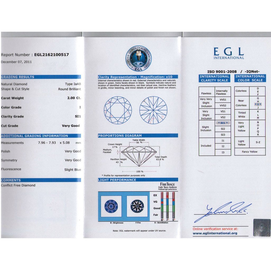 Certified Round Diamond 2.00ct, I, SI1, EGL ISRAEL - 2