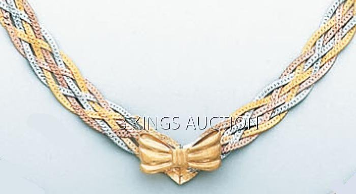 3 COLOR BRAIDED 17in. 6.1 grs 14kt 3tone Gold