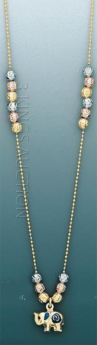 "LIGHT FANCY-necklace 17"" 4 grs 14kt 3tone Gold"