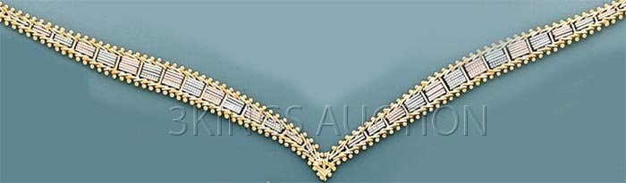 "VILLAS&BOLAS-necklace 17"" 18.2 grs 14kt 3tone Gold"