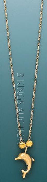 """LIGHT FANCY-necklace 17"""" 1.4 grs 14kt 3tone Gold w/ des"""