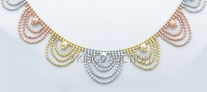 """FANCY LIGHT BALL NECKLACES 17"""" 5.7 grs 14kt 3tone Gold"""