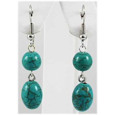 Natural 20.28ctw Turquoise Silver Dangling Earring