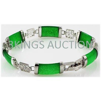 9.98g Apple Green Jade Sterling Silver Bracelet