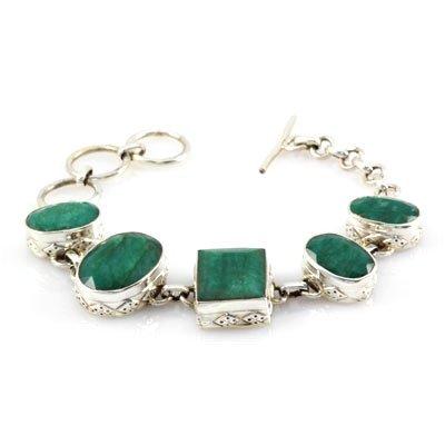 144ctw Toggle Clasp Emerald Silver Bracelet