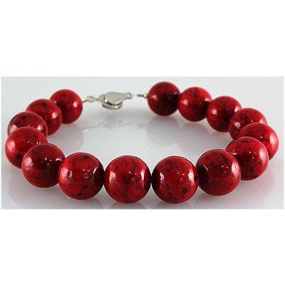 197.54ctw Philippine Red Coral Stone Round Bracelet