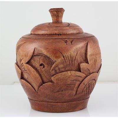 Small Hand Curving Wood Decorative Jar