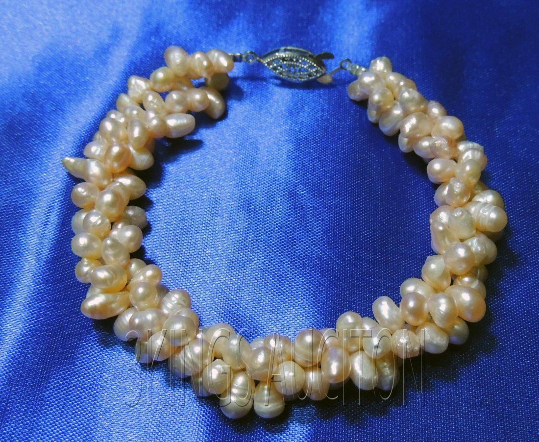 7--8 Inch 3-Strand Twisted Pearl Bracelet Brass Clasp P