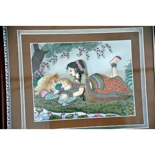 2D Shakuntalam Real Gemstone Painting size 16.5in.x19.5