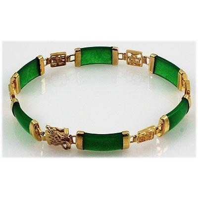 9.82g Sterling Yellow Silver Jade Bracelet