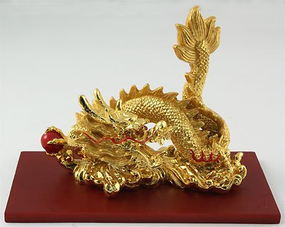 Chinese 2012 Golden Brass Dragon For Good Luck