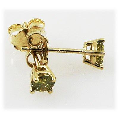 Genu. 0.38 ctw Round Earring Fancy Yellow Diamond , SI1