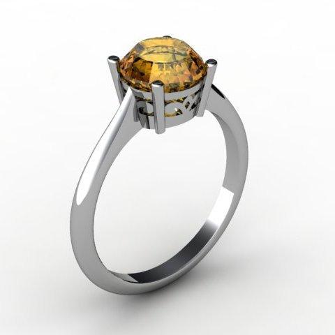Citrine 1.30 ctw Ring14kt White Gold