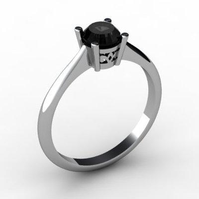 Black Diamond 0.50 ctw Ring 14kt White Gold