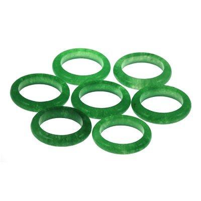 Natural 91ctw Rich Green Jade Rings SZ 8 Lot of 7