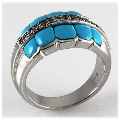Genuine 0.67 ct Turguoise & Diamond Ring 14kt W/G 9.39g