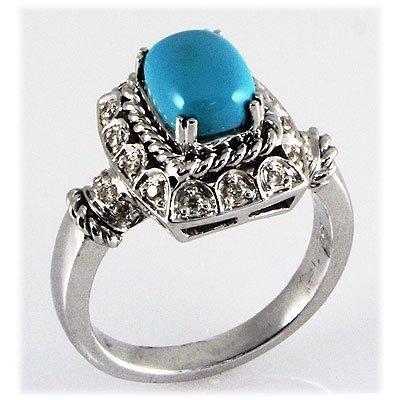 Genuine 1.63ctw Turquoise Diamond Ring 14kt W/G 6.80g