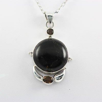 46.5ctw Black Onyx Gemstone Silver Pendant