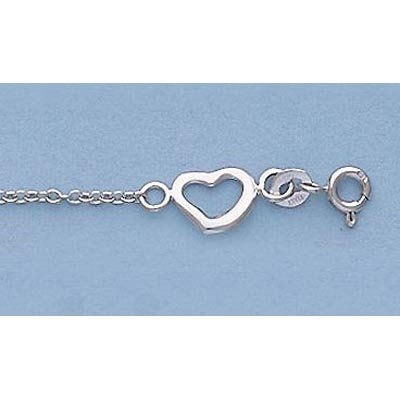 """Pure Gold 7"""" 14k Gold-White Oval Link Floating Heart"""