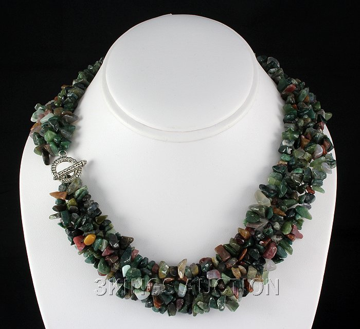 """771.5CTW 18"""" TOURMALINE CHIPPED STONE NECKLACE METAL LO"""