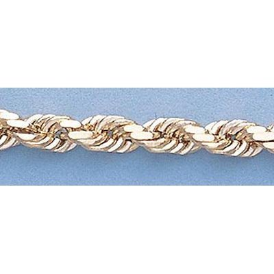 """Pure Gold 16"""" 14k Gold-Yellow 4.0mm D/C Rope Chain"""