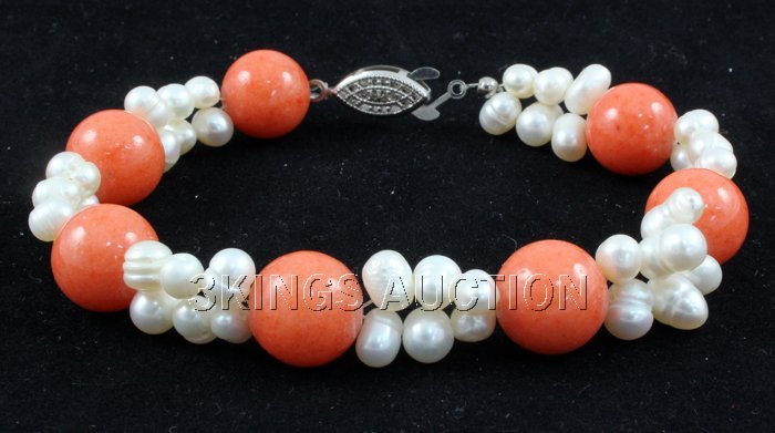 "134.7CTW 8"" SUNSET ORANGE FRESHWATER PEARL WITH CORAL B"