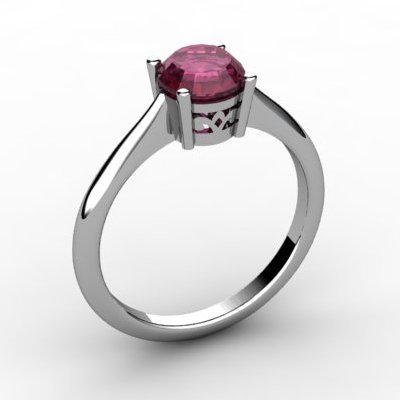 Ruby 1.05 ctw Ring 14kt White Gold