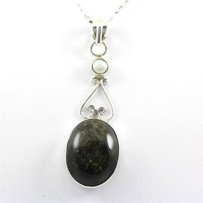 39.5ctw Gold Sheen & Black Onyx Silver Pendant