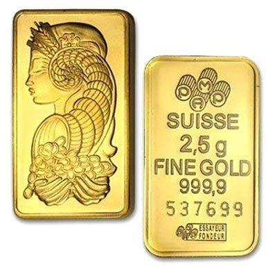 2.5 Gram Suisse Gold Bar .9999 Fine Gold 24Kt