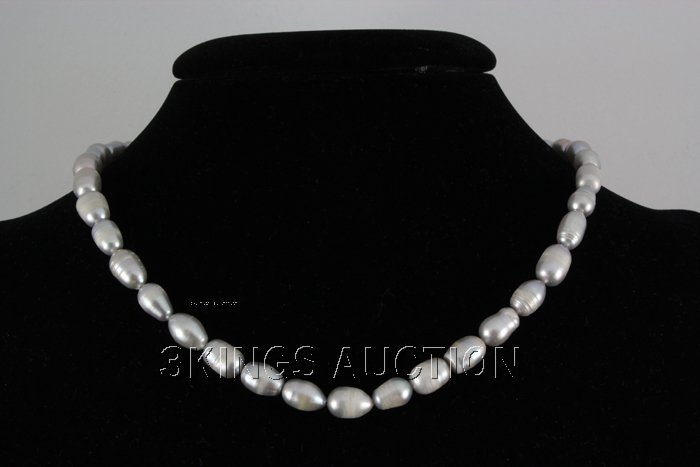"186.42CTW 18"" GRAY FRESHWATER PEARL NECKLACE METAL LOCK"
