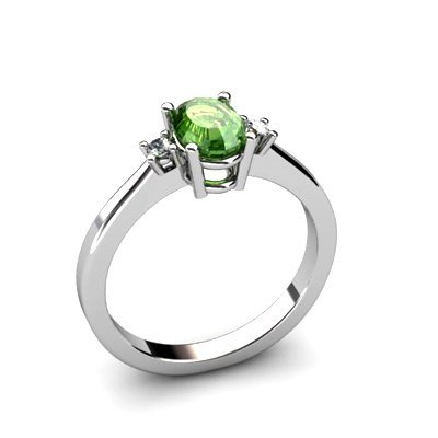 Tourmaline 0.50 ctw Diamond Ring 14kt White Gold