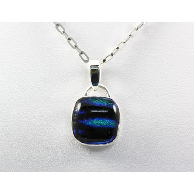 Dichroic Fused Glass in Sterling Silver Pendant, 4.6g