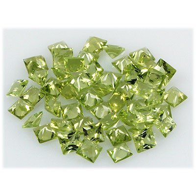 Peridot 15.36 ctw Loose Gemstone 4x4mm Princess Cut