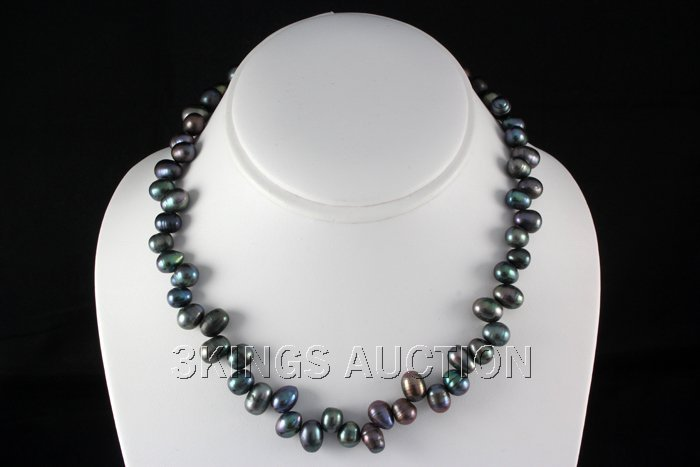 """264.24CTW 18"""" BLACK FRESHWATER PEARL NECKLACE METAL LOC"""