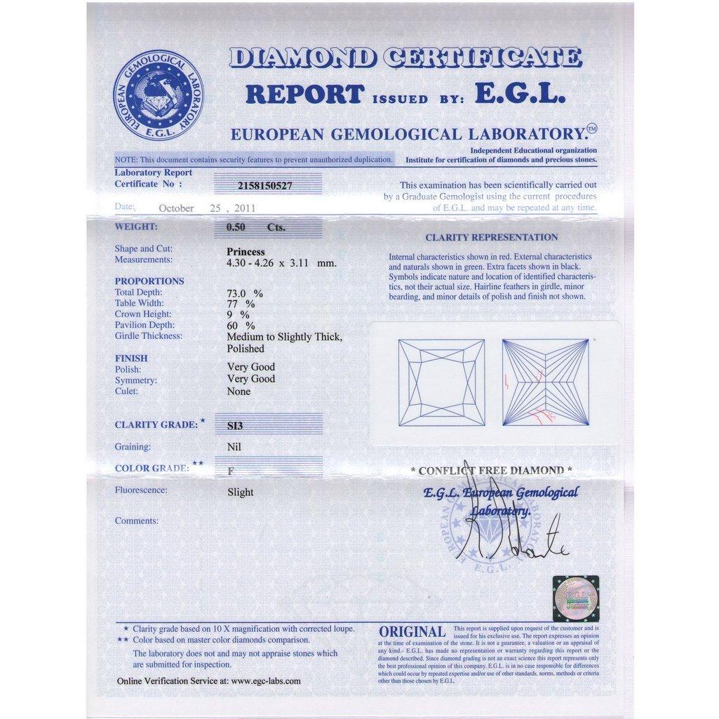 Certified Princess Diamond 0.50 Carat F, SI3 EGL ISRAEL - 2
