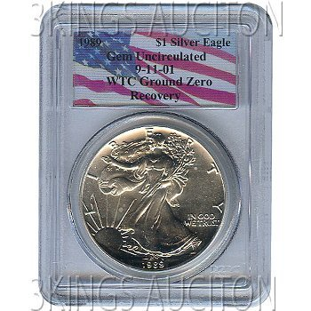 Certified Silver Eagle WTC Ground Zero Recovery 1989 Ge