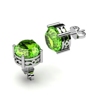 Peridot 2.00ctw Earring 14kt White Gold