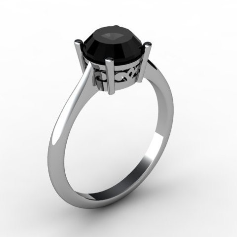 Black Diamond 1.25 ctw Ring 14 kt White Gold