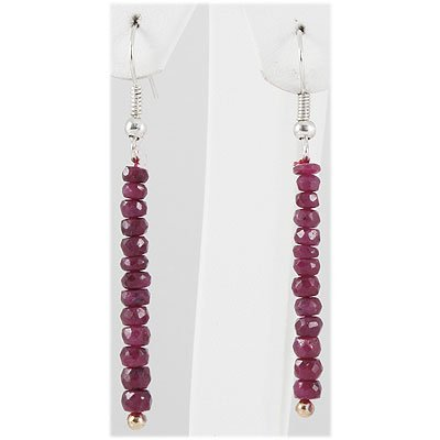13.83ct Single Faceted Ruby Silver Hook Earring