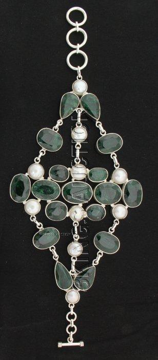 Fashion Silver 395.50ctw Emerald Beryl Bracelet
