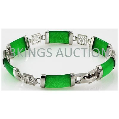 9.98g Apple Green Jade Sterling Silver Bracelet