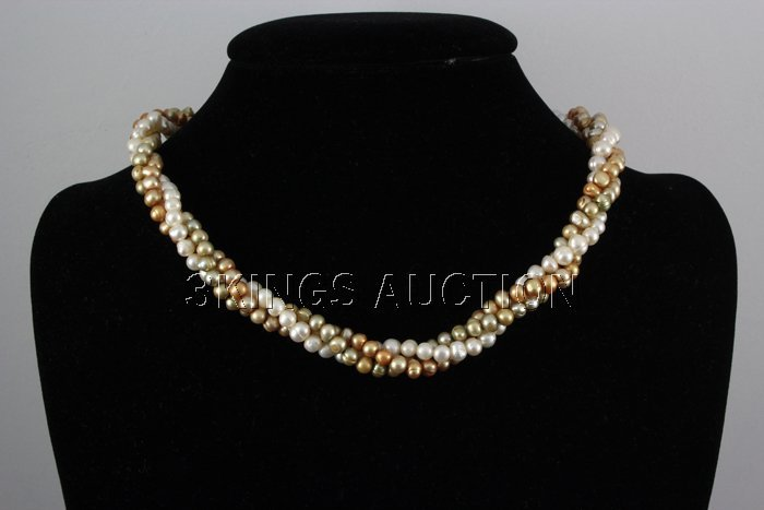 "277.13CTW 18"" WHITE-ORANGE-GREEN RICE PEARL NECKLACE ME"