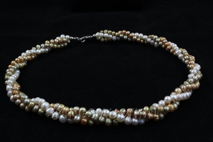 "277.13CTW 18"" WHITE-ORANGE-GREEN RICE PEARL NECKLACE ME - 2"