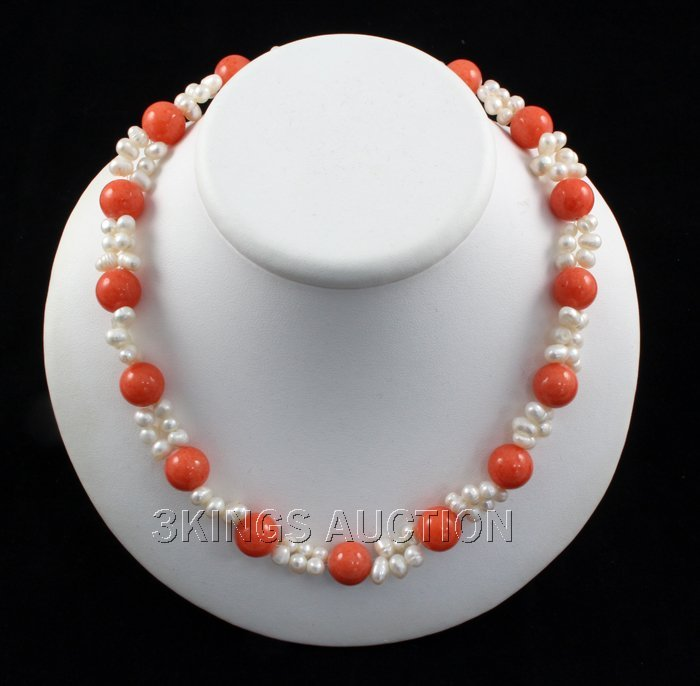 "315.17CTW 18"" SUNSET ORANGE FRESHWATER PEARL WITH CORAL"