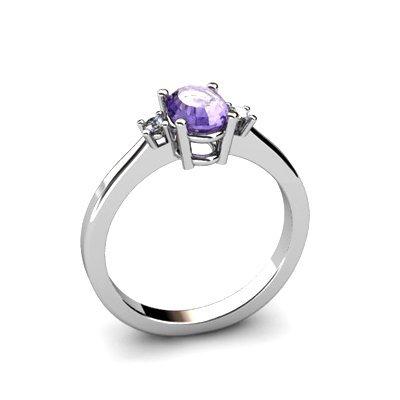 Tanzanite 0.48 ctw Diamond Ring 14kt White Gold