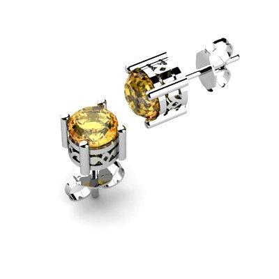 Citrine 1.40ctw Earring 14kt White Gold