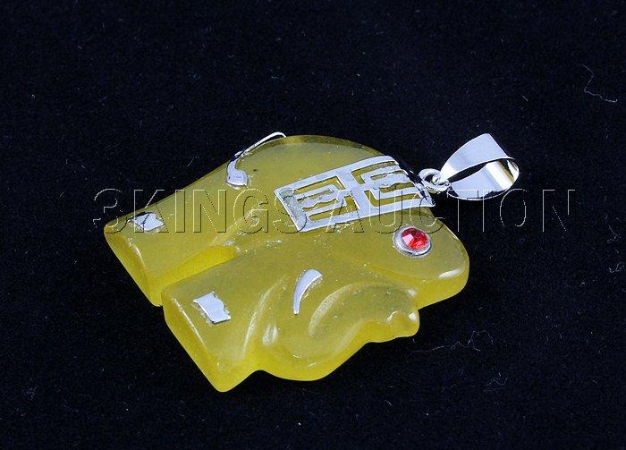 Genuine 27.82ctw Yellow Elephant Jade Pendant