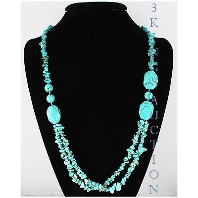 Natural 435.79ctw Turquoise Sterling Silver Necklace